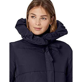 Lark & Ro Women's Long Shawl Pillow Collar Puffer Jacket, Navy, Small
