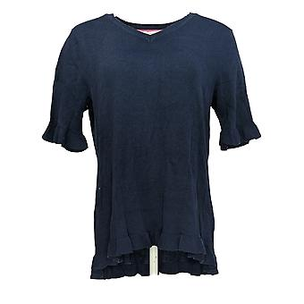 Denim & Co. Kvinder & s Sweater Aktiv kortærmet blå A354953