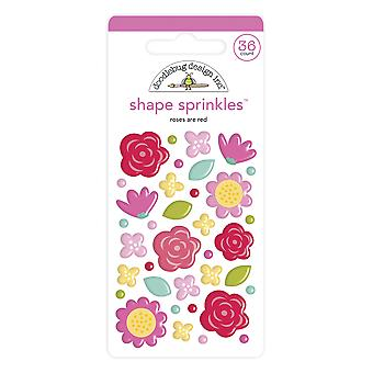 Doodlebug Design Roses sont Red Shape Sprinkles (36pcs) (6575)
