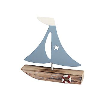11cm Wood & Metal Sail Boat for Miniature Fairy Gardens