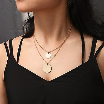 Gold Double layer Disc Pendant Necklace