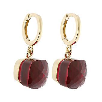 Boucles d'oreilles Gemshine avec des grenades rouges profondes en argent 925, plaqué or ou rose