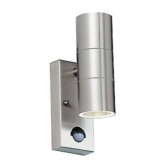 Endon Canon Pir - PIR 2 Light Outdoor Up Down Wall Light Clear Glass, Polished Stainless Steel IP44, GU10