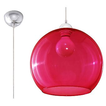 1 Light Glass Dome Ceiling Pendant Red, Chrome, E27