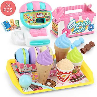 Mini Supermarket Educational Simulation Children Learning Play House Birthday Gift Kids Toy Set Cash Register