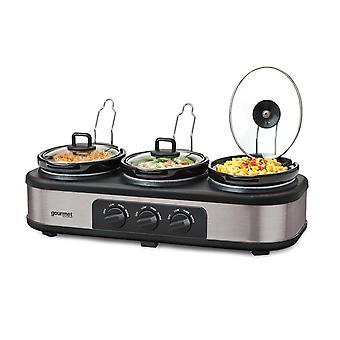 Global Gourmet by Sensio Home Triple Slow Cooker | Multi-functional Triple Crock Pot Food Warmer, Buffet Server & Bain Marie