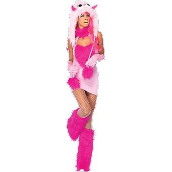 Womens Neon Pink Puff Monster Cosplay fantasia vestido extravagante