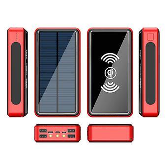 Stuff Certified® Qi Wireless Solar Power Bank, jossa on 4 porttia 80.000mAh - Sisäänrakennettu taskulamppu - Ulkoinen hätäakkulaturi Laturi Sun Red