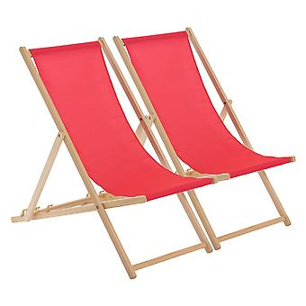 Traditional Adjustable Wooden Beach Garden Deck Chair - Pink - Pack of 2