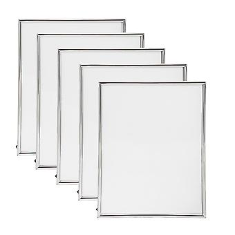 Nicola Spring Metal 6x8 (A5) Photo Frame. Silver Colour - Standing - Pack Of 5