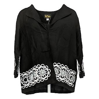 Bob Mackie Women's One-Button W/ Cut-Out Floral Embroidery Black 290593