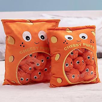 Pose med cheesy puffs leketøy, fylt myk snack pute plysj, barn bursdag