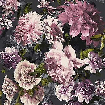 Secret Garden Floral Wallpaper Black GranDeco A43002
