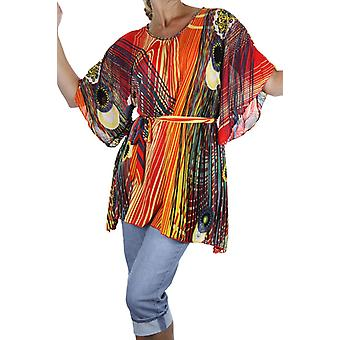Women's Loose Kimono Sleeve Top Ladies Casual Everyday Bohemian Pattern Silky Belted Oversize Evening Tunic Top Blouse 12-18