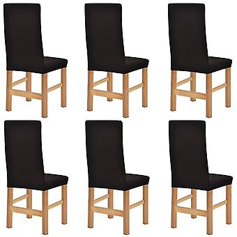 6 x Chair Husse Stretchhusse Polyester Rib fabric brown