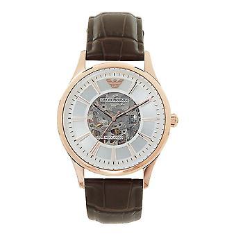 Armani Ar2073 Meccanico Ruusu kulta & ruskea kuvioitu nahka automaattinen Men's Watch