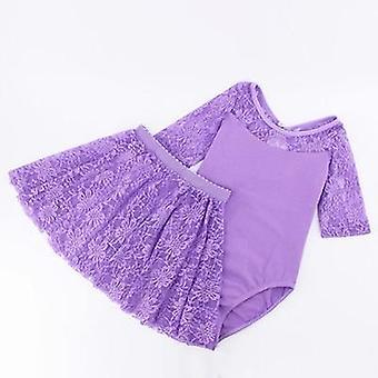 الفتيات الباليه اللباس الجمباز تنور طويل / كم، ملابس السباحة الجمباز الاطفال