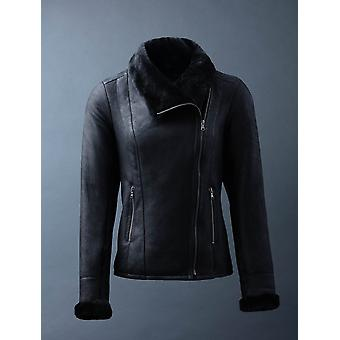 Allerby II Sheepskin Aviator Jacket in Black