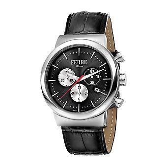 Ferre Milano Gents Schwarz Zifferblatt Schwarz Leder Armband Uhr