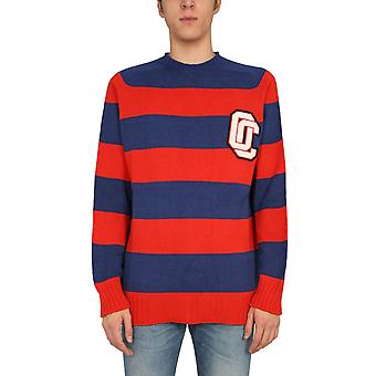 Opening Ceremony Ymhe002f20kni0012547 Men's Blue/red Wool Sweater