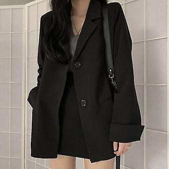 Formal Black Blazer Skirts Suit Casual Blazer Coat+short Bodycon Set
