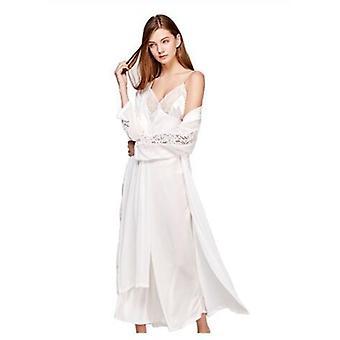 Robe de couchage Sexy Sling Robe de couchage Deux pièces Faux Silk Sleepwear Femmes Chemises de nuit