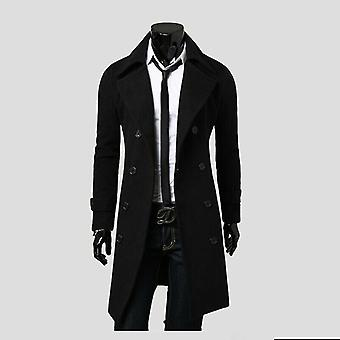 Men Jacket Warm Winter Trench Coat Long Outwear Button Overcoat Casual