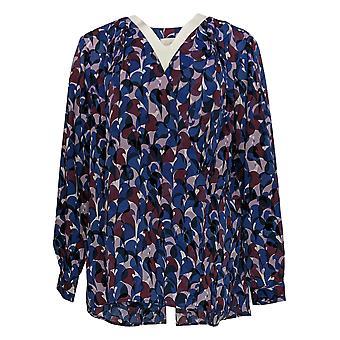 Belle af Kim Grus Kvinder's Plus Top Camo Print Wrap Bluse Lilla A310028