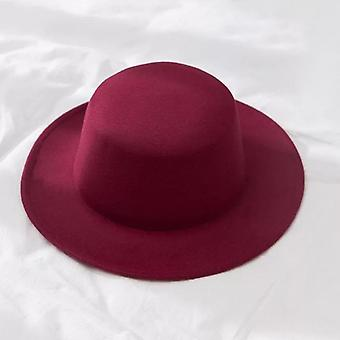 Classic Felt Fedoras, Artificial Wool Blend Jazz Cap And Wide Brim Simple