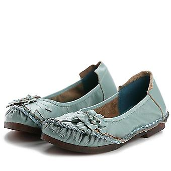 Genuine Leather And Casual Flower Single Flat Round Toe Style Boat Shoes/soft
