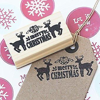 Glædelig jul Design med Deers træ gummi håndværk stempel Xmas