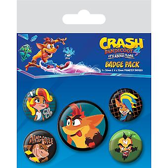 Crash Bandicoot Badgy Badge Set (Pack of 5)