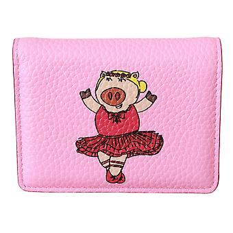 Pink Year Of The Pig Bifold Card Holder Leather Wallet