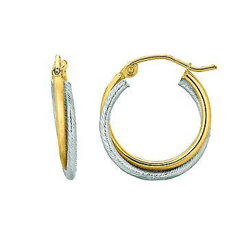 14K geel en wit goud dubbele rij Hoop Earrings Hoop Earrings, Diameter 20mm
