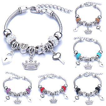 Antique Crown Key Lock Shape Charm Bracelets, Glass Beads, Brand & Bangle