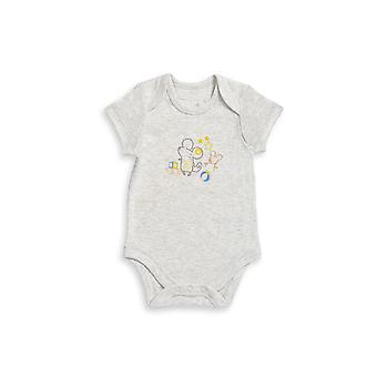 The Essential One Baby Unisex Grey Marl Short Sleeve Ellie Mouse Body Suit