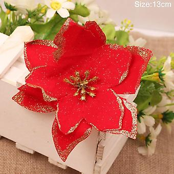 Glitter Artificial Flowers Merry Ornaments Christmas Tree Decorations For Home
