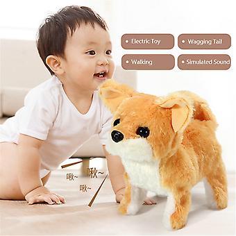 Electric Toy Soft Simulation Teddy Dog Plush Walking Glowing Barking Dog Funny Simulation Moving Plush Stuffed Doll Toys