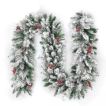 New Christmas Decoration Garland Flocking Rattan Door Decoration Pendant Red Small Pine Cone