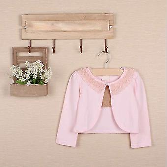 Batoľa dievčatá s dlhým rukávom Čipka Kvetina Vrchné oblečenie Cardigan Ružová 90cm