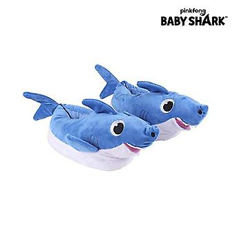3D house slippers baby shark blue