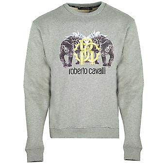 Roberto Cavalli Mirrored Wild Cat Logo Grey Jumper