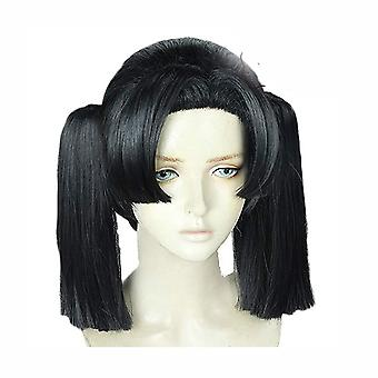 Demon Slayer Kanzaki Aoi Wigs Double Ponytail Cosplay Wigs Cap Black