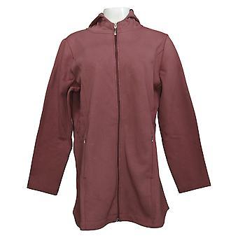 Denim & Co. Women's Active Fleece Back Jersey Zip Front Jacket Pink A388880