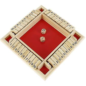 XGF Shut The Box Dice Game Wooden 4 Player Pub Board Games Number Drinking Board Game Classic Dice