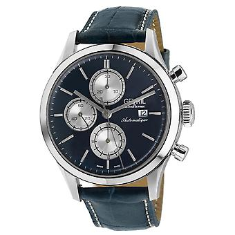 Gevril Men's West Side Street Automatic Chronograph Watch blue straps