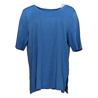 J.Jill Women's Top Cotton Scoop Neck Elbow Sleeve Knit Blue A390664