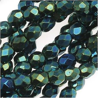 TšekkiLäinen tuli kiillotettu lasi läjät 4mm pyöreä vihreä Iris (50)