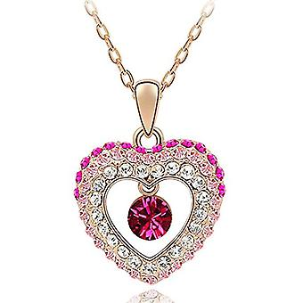 Women's Necklace Heart Chain Pendant Heart Love Gold Plated with Autiga Crystals, metal base, color: Crystal Heart - pink, Ref. 4058433092723
