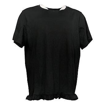Anybody Women's Top Crinkle Knit T-Shirt with Ruffle Hem Black A353784